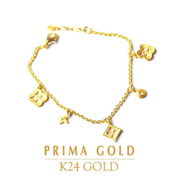 純金 24K ブレスレット 型抜き模様 レディース 女性 イエローゴールド プレゼント 誕生日 記念日 贈物 24金 ジュエリー アクセサリー ブランド プリマゴールド PRIMAGOLD K24 送料無料