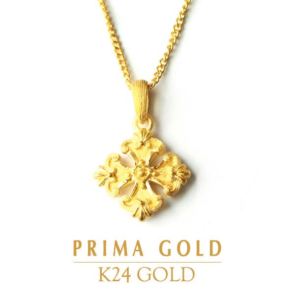 純金 24K リリークロス ペンダント レディース 女性 イエローゴールド プレゼント 誕生日 贈物 24金 ジュエリー アクセサリー ブランド プリマゴールド PRIMAゴールド K24 送料無料