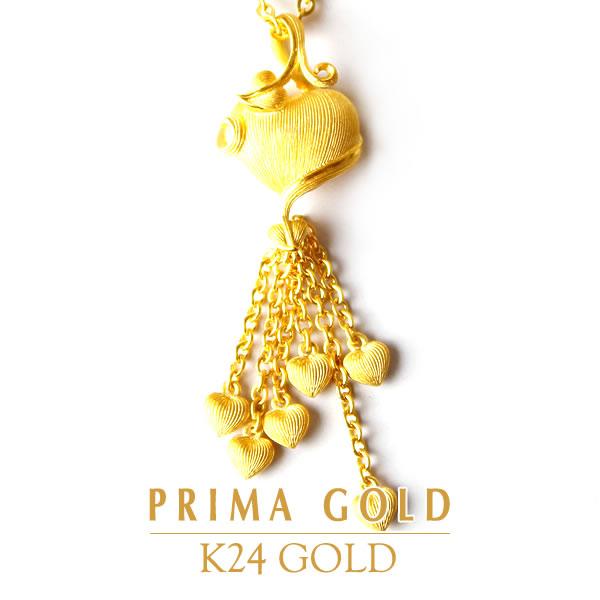 純金 24K エンジェルハート ペンダント レディース 女性 イエローゴールド プレゼント 誕生日 贈物 24金 ジュエリー アクセサリー ブランド プリマゴールド PRIMAゴールド K24 送料無料