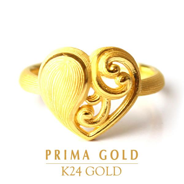 純金 24K 指輪 ハート リング レディース 女性 イエローゴールド プレゼント 誕生日 贈物 24金 ジュエリー アクセサリー ブランド プリマゴールド PRIMAGOLD K24 送料無料