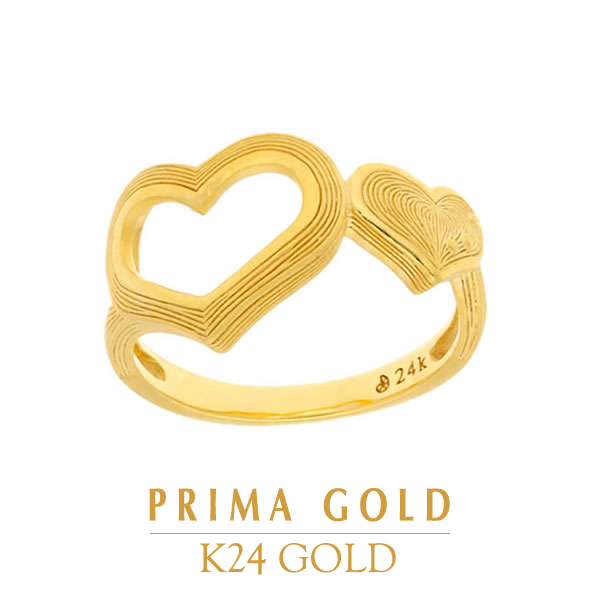 Pure gold pinkie ring heart little finger ring Lady's woman yellow gold  gift present birthday present 24-karat gold jewelry accessories brand metal