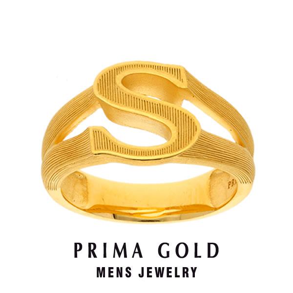 純金 24K アルファベット イニシャル S 印台リング 指輪 メンズ 男性 イエローゴールド プレゼント 誕生日 記念日 贈物 24金 ジュエリー アクセサリー ブランド プリマゴールド PRIMAGOLD K24 送料無料