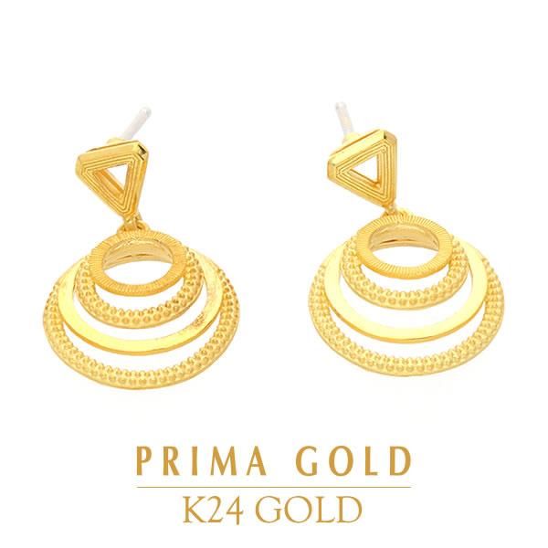 純金 24K ピアス レイヤードサークル 輪 個性的 レディース 女性 イエローゴールド プレゼント 誕生日 贈物 24金 ジュエリー アクセサリー ブランド プリマゴールド PRIMAゴールド K24 送料無料