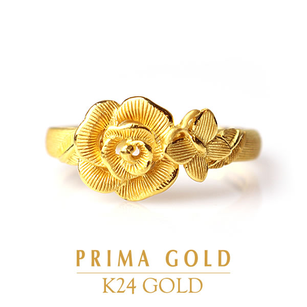 638687116f93aa Pure gold ring rose butterfly Lady's woman yellow gold gift present  birthday present 24-karat ...