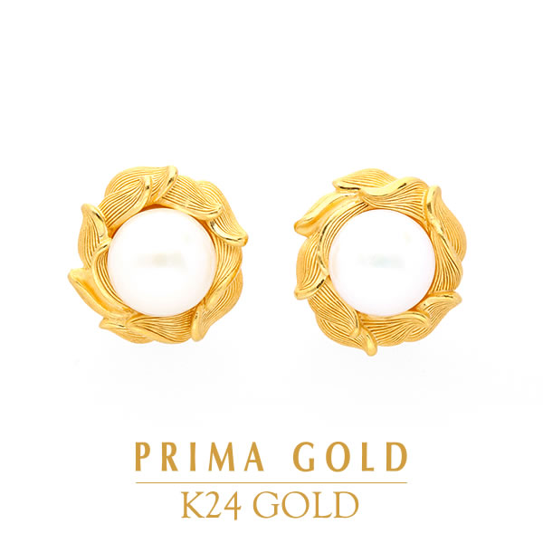 3989e7b9785cf Pure gold pierced earrings mabe pearl pearl Lady's woman yellow gold gift  present birthday present 24-karat gold jewelry accessories brand metal ...
