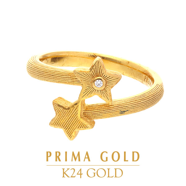 2bb6d3750 Pure gold pinkie ring natural diamond star little finger ring Lady's woman  yellow gold gift present ...