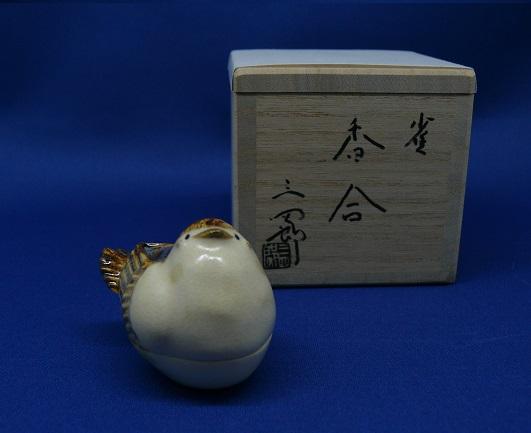 【茶道具】雀香合 三四郎作 桐箱