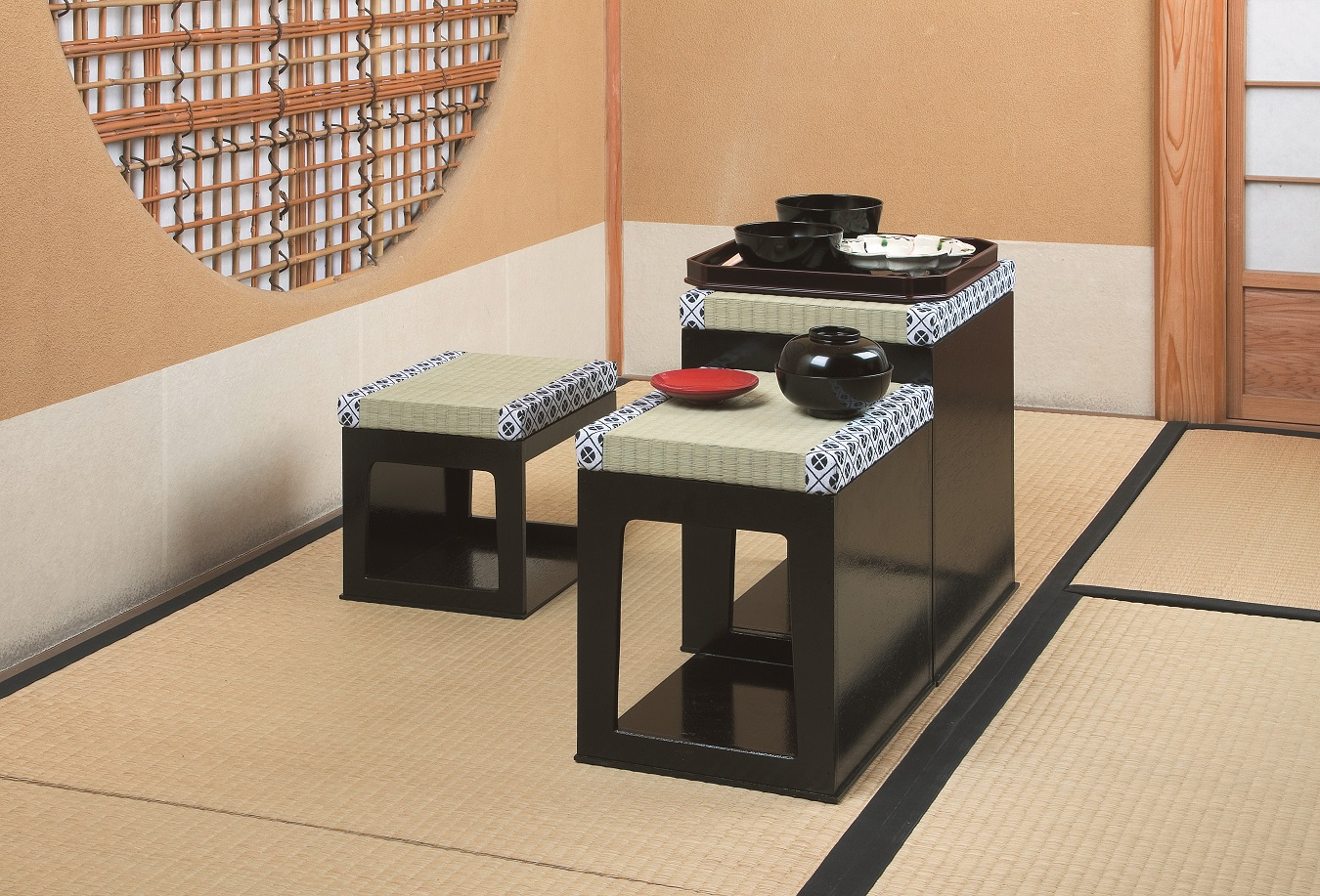 【茶道具】茶事座椅子セット黒掻合塗紙箱
