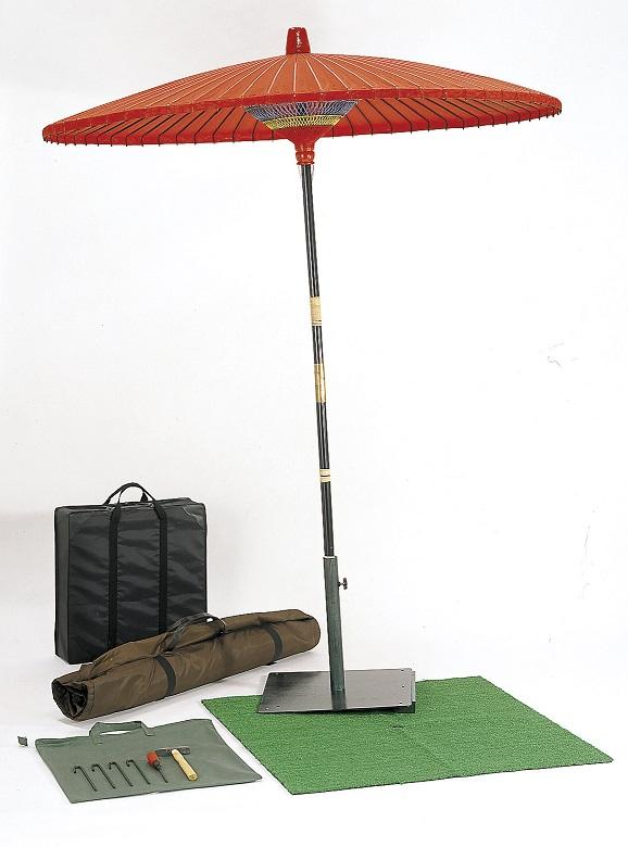 【送料無料!特別価格】野点傘セット 収納袋付(3尺野点傘・傘台)