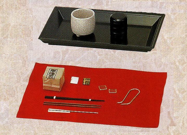 【茶道具】黒真塗 香盆セット(香たどん付)