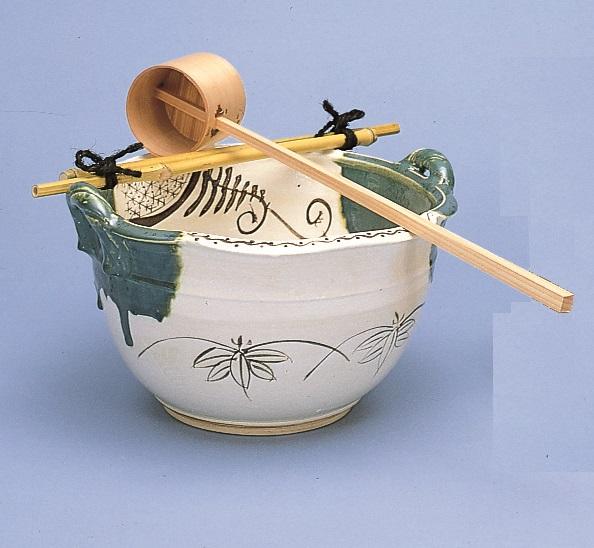 【茶道具】手洗鉢 織部 尺2 筏付紙箱
