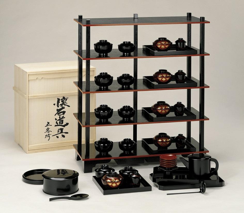 【茶道具】懐石道具一式(5客)木製(本漆塗)木箱入中村宗悦