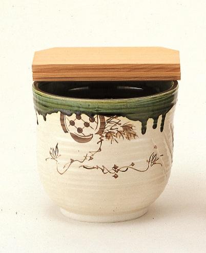 【茶道具】水屋瓶 織部 大(杉割蓋付)五陶作