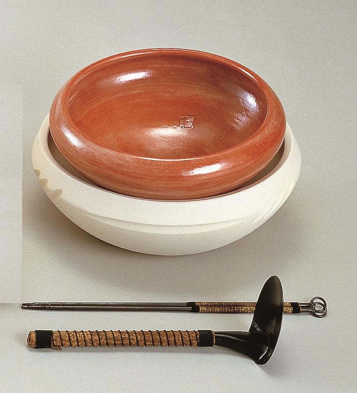 【茶道具】半田焙烙セット赤楽・白組(長火箸・底取付)化粧箱