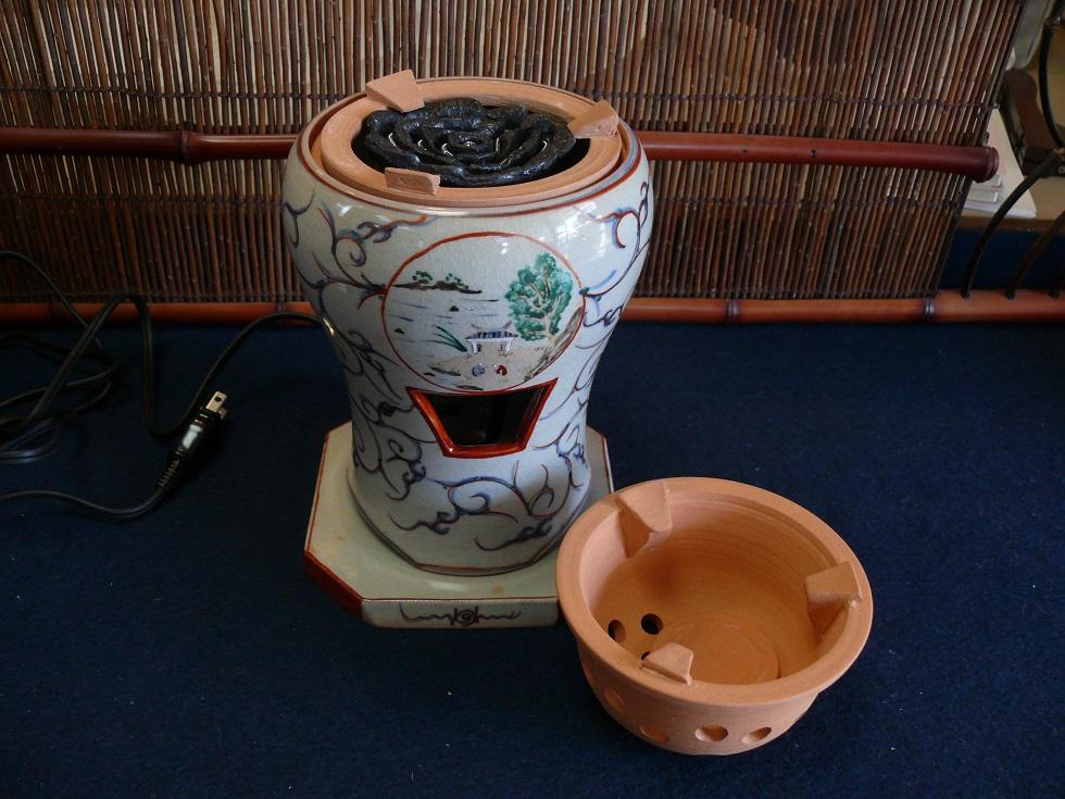 【煎茶道具】電熱器・炭両用赤絵涼炉 野々田電熱器付太仙窯作