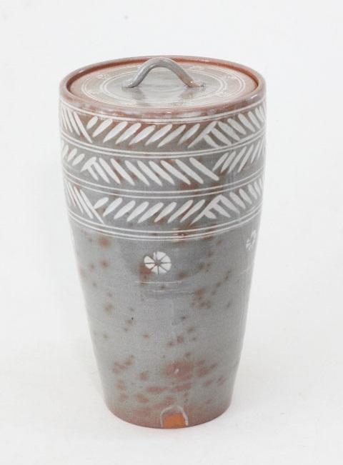 【茶道具】彫三島細水指 黒石窯作 化粧箱