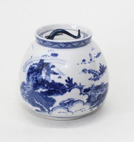 【茶道具】染付近江八景水指 英治作 木箱