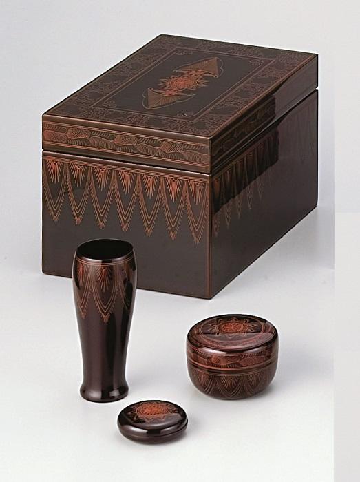 【茶道具】キンマ茶箱セット中村宗悦作