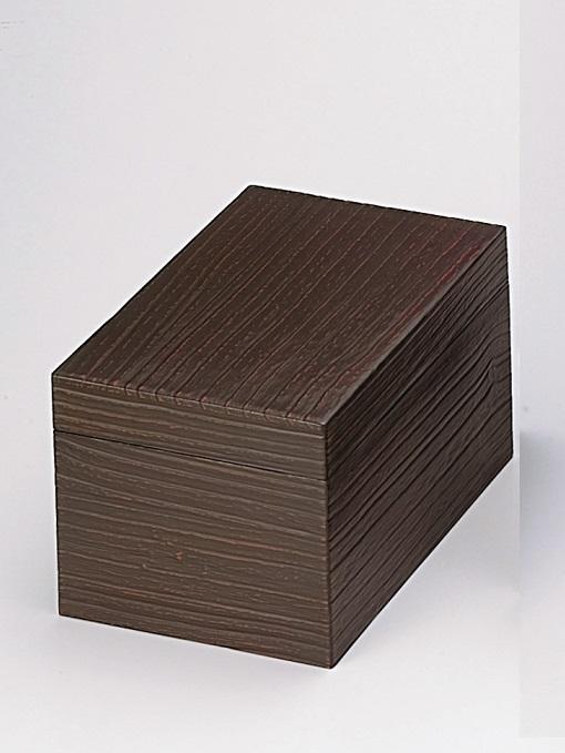 【茶道具】鎌倉彫木目茶箱(化粧箱)