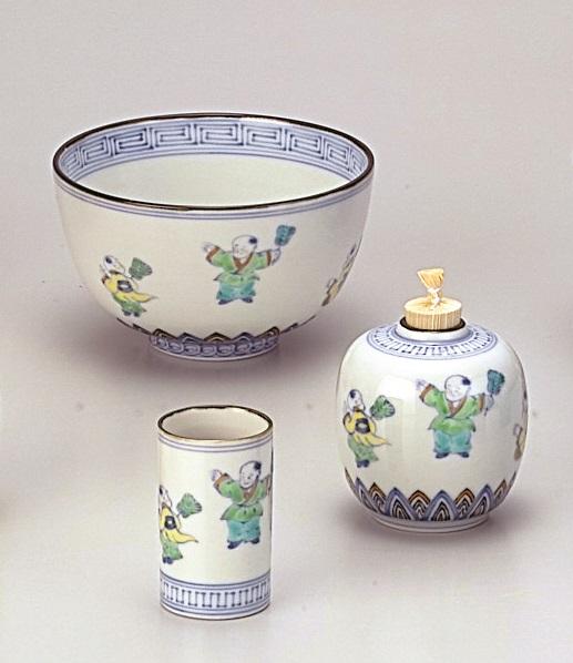【茶道具】茶碗三点セット色絵 唐子 高野昭阿弥作(化粧箱)