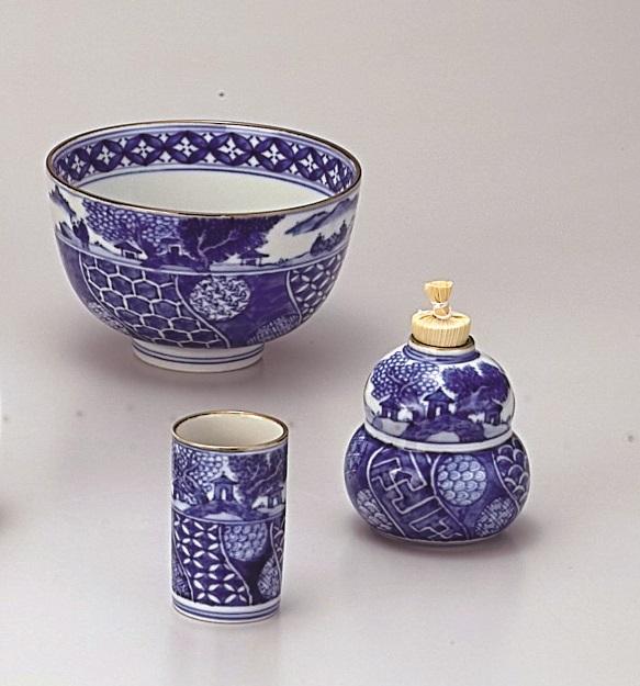 【茶道具】茶碗三点セット祥瑞 山水 高野昭阿弥作(化粧箱)