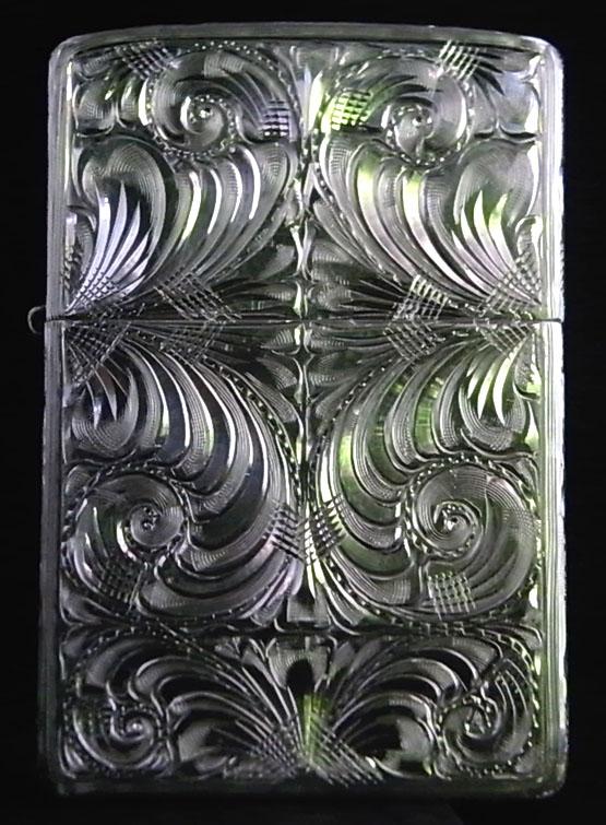 【ジッポ】(ジッポー)ライター 最高級品:純銀スターリングシルバー KUBOTA-全面手彫り-RL-B プレミアムモデルプレゼントZIPPO