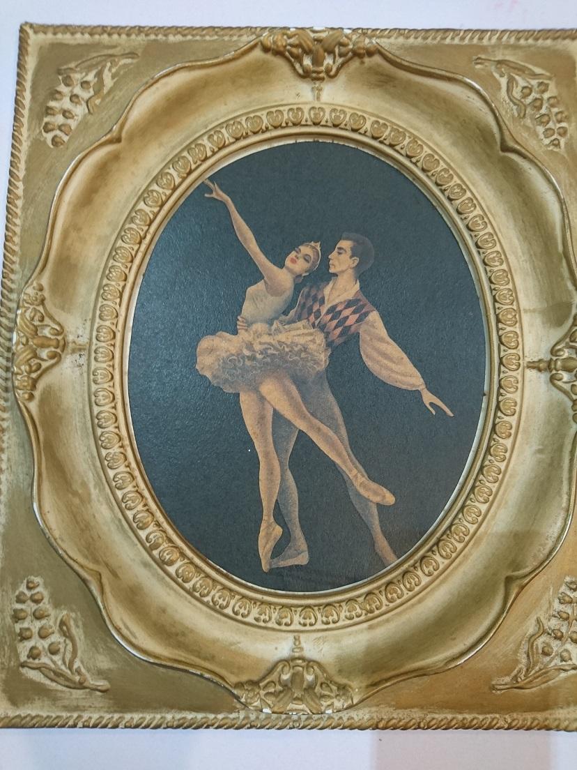 ビンテージ バレリーナ パ ドゥ ドゥ 絵画 M. Goodman  ホワイトフレーム 37×32 2