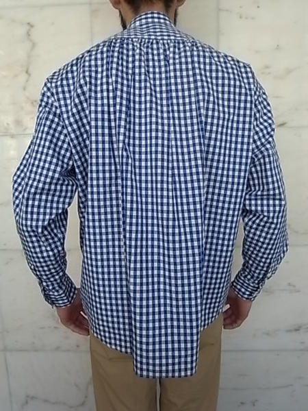PORTER CLASSIC(포터 클래식) P.C ROLL UP GINGHAM CHECK SHIRT☆BLUE★