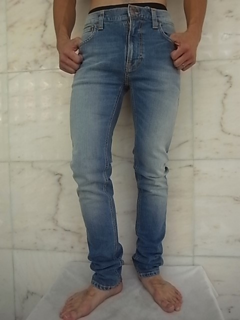 "Nudie Jeans(ヌーディー ジーンズ)【THIN FINN】""LOW YOKE THIN SKINNY LEGS""""REBEL BLUES""ストレッチ混スリムスキニーJeans★"