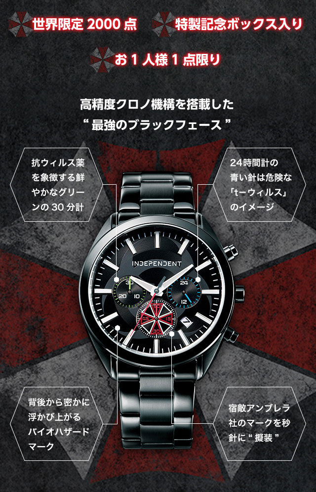 "INDEPENDENT X BIOHAZARD THE FINAL ""biohazard is a memory limited edition official chronograph the finals"" publicly"