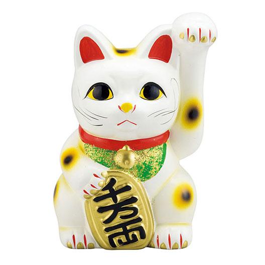 縁起物 招き猫 【白】 10号サイズ