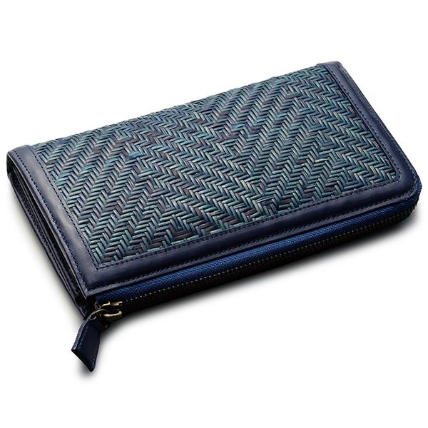 毛利健一 籐ファスナー付 長財布(A)ブルー / 4163 メンズ財布 長財布(小銭入れあり) 日本製 牛革 籐
