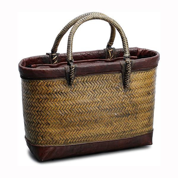 毛利健一 竹 横網代編み バッグ (茶) / 4125 日本製 竹 和小物 かごバッグ