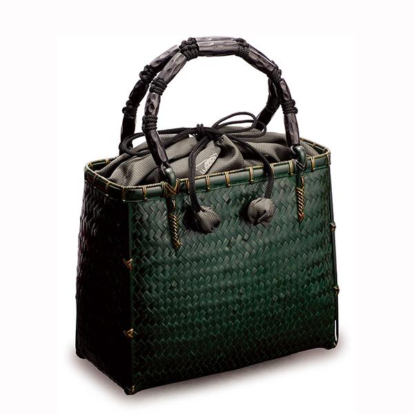 毛利健一 竹 網代編み バッグ S (緑) / 4142 日本製 竹 和小物 かごバッグ