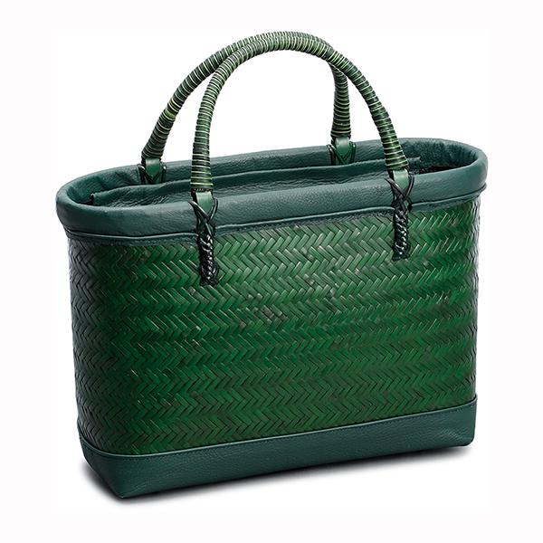 毛利健一 竹 横網代編み バッグ (緑) / 4124 日本製 竹 和小物 かごバッグ