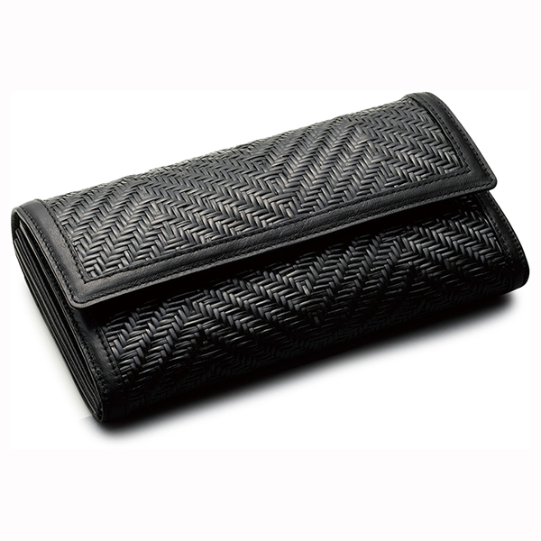 毛利健一 籐 マルチ長財布 黒 / 4151 メンズ財布 マルチ長財布(小銭入れあり) 日本製 牛革 籐