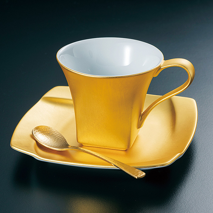 Hakuichi Pure Square Coffee Cup Saucer With A Spoon Gold