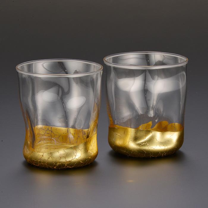 箔一 貫入 いっぷく冷茶グラスC 2個セット 引き出物 お祝い 金箔