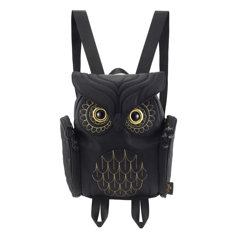 【 モーンクリエイションズ 】 OW-386 【 レディース 】 【 ブラック 】 ミミズククラシック・バックパック MORN CREATIONS Owls ふくろう
