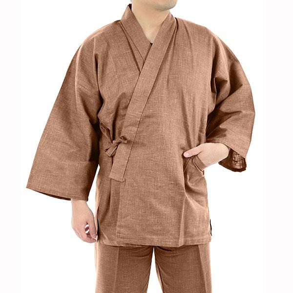 作務衣 職人がつくった 絣紬(かすりつむぎ) 作務衣 【 NO.2 茶 】 日本製 桐生 綿100% 春用 夏用 秋用 さむえ