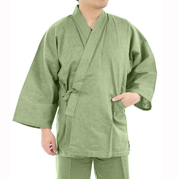 作務衣 職人がつくった 絣紬(かすりつむぎ) 作務衣 【 NO.7 浅緑 】 日本製 桐生 綿100% 春用 夏用 秋用 さむえ