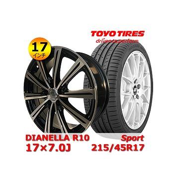 【トーヨー Sport 215/45R17インチ】【DIANELLA R10 17×7.0J +48 5H 100】トヨタ/86・プリウス・ウィッシュ タイヤ&ホイール 17インチ 4本セット