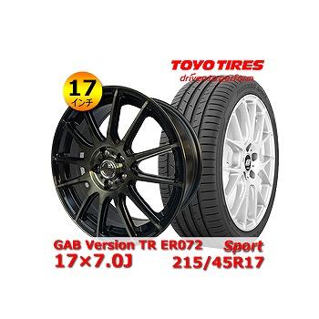 【トーヨー Sport 215/45R17インチ】【GAB Version TR ER072 17×7.0J +48 5H 100】トヨタ/86・プリウス・ウィッシュ タイヤ&ホイール 17インチ 4本セット