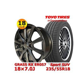 【トーヨー Sport SUV 235/55R18インチ】【GRASS RX ER057 18×7.0J +48 5H 114.3】RAV4 タイヤ&ホイール 18インチ 4本セット