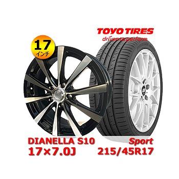 【トーヨー Sport 215/45R17インチ】【DIANELLA S10 17×7.0J +48 5H 100】トヨタ/86・プリウス・ウィッシュ タイヤ&ホイール 17インチ 4本セット