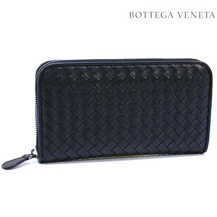 ボッテガヴェネタ 長財布 BOTTEGA VENETA 財布 ラウンドファスナー ラムレザー / ブラック  114076 V001N 1000