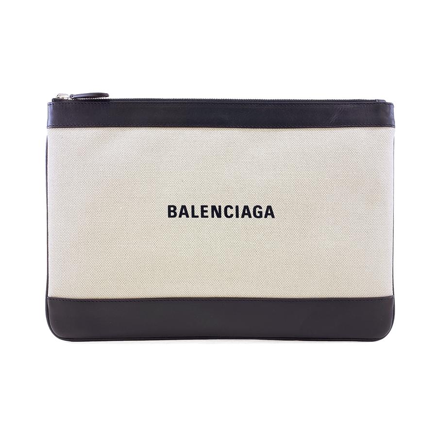 バレンシアガ BALENCIAGA クラッチバッグ ネイビー クリップ NAVY CLIP M キャンバス ナチュラル ブラック 420407 AQ37N 1080