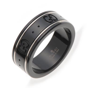 グッチ 指輪 GUCCI リング GGアイコンリング ブラック コランダム ホワイトゴールド 225985 I19A1 8061