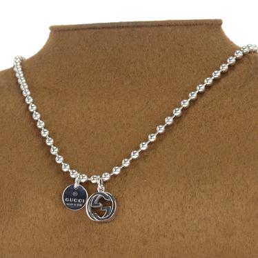 820e8ff07 ... Gucci necklace GUCCI pendant ball chain interlocking G Silver 390992  J8400 0702