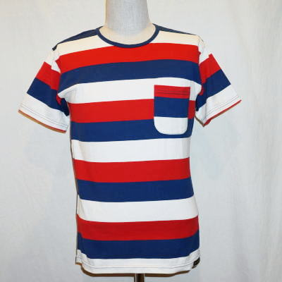 851dc3dc6a 2nd: 06 BT-06W- white red blue - horizontal stripe T-shirt-BT06W ...